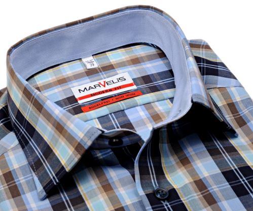 Marvelis Modern Fit – košile s modro-hnědým kárem a světle modrým vnitřním límcem