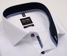 Olymp Level Five – biela košeľa s tmavomodrým vnútorným golierom a manžetou - predĺžený rukáv