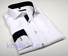 0ea3428da0e6 Eterna Slim Fit Fine Oxford – biela košeľa s tmavomodrým vnútorným golierom  - extra predĺžený rukáv