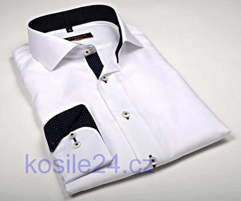 Eterna Slim Fit Fine Oxford – bílá košile s tmavě modrým vnitřním límcem - extra  prodloužený 7f0301eb70