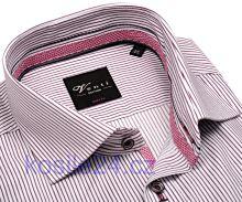 Venti Body Stretch – košeľa s vínovo červeným prúžkom a vnútorným golierom, manžetou a légou