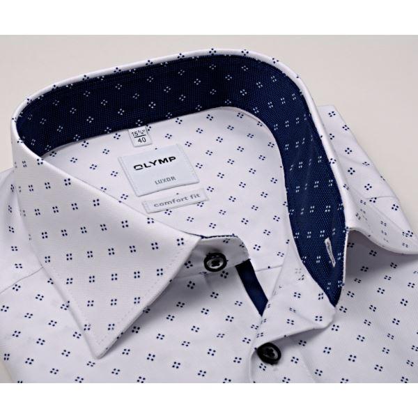 Bílá košile Olymp s tmavomodrým vzorem a inverzním vnitřním límcem e3c696fbcc