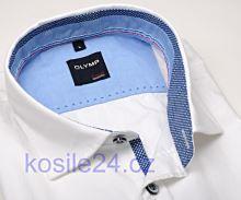 Olymp Casual Modern Fit  – bílá lněná košile s vnitřním límcem a légou - krátký rukáv
