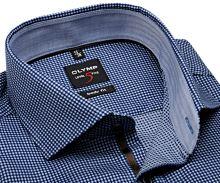 Olymp Level Five – tmavomodrá košile s vetkaným vzorem a světle modrým vnitřním límcem a manžetou