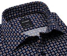 Olymp Modern Fit – tmavomodrá košeľa s béžovo-modrým vzorom - predĺžený rukáv
