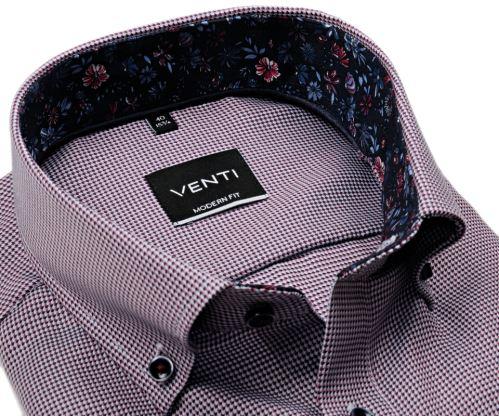 Venti Modern Fit – košeľa s červeno-modrým vzorom a kvetinovým vnútorným golierom a manžetou