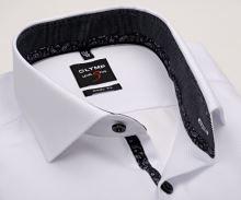Olymp Level Five – bílá košile s jemnou strukturou, černým vnitřním límcem a manžetou