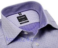 Olymp Modern Fit Rybí kost – fialová košile s puntíky a vnitřním límcem - prodloužený rukáv