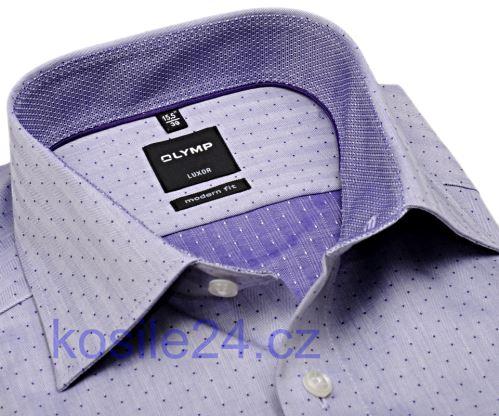 Olymp Modern Fit Rybia kosť – fialová košeľa s bodkami a vnútorným golierom - predĺžený rukáv