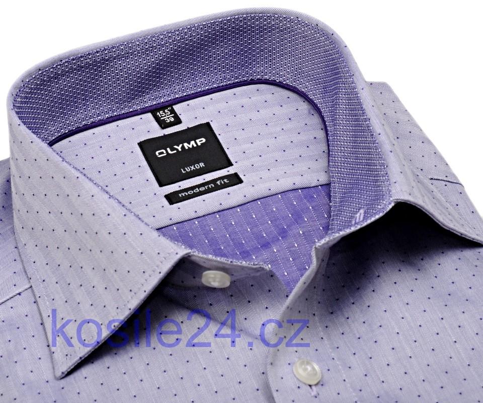 Olymp Modern Fit Rybia kosť – fialová košeľa s bodkami a vnútorným golierom  - predĺžený rukáv 3f985d0b24a