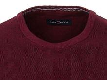 Bavlnený pulóver Casa Moda – kulatý výstrih - tmavočervený
