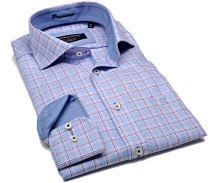 Casa Moda Modern Fit Premium – luxusní světle modrá košile s vetkanou fialovo-růžovou kostkou s vnitřním límcem