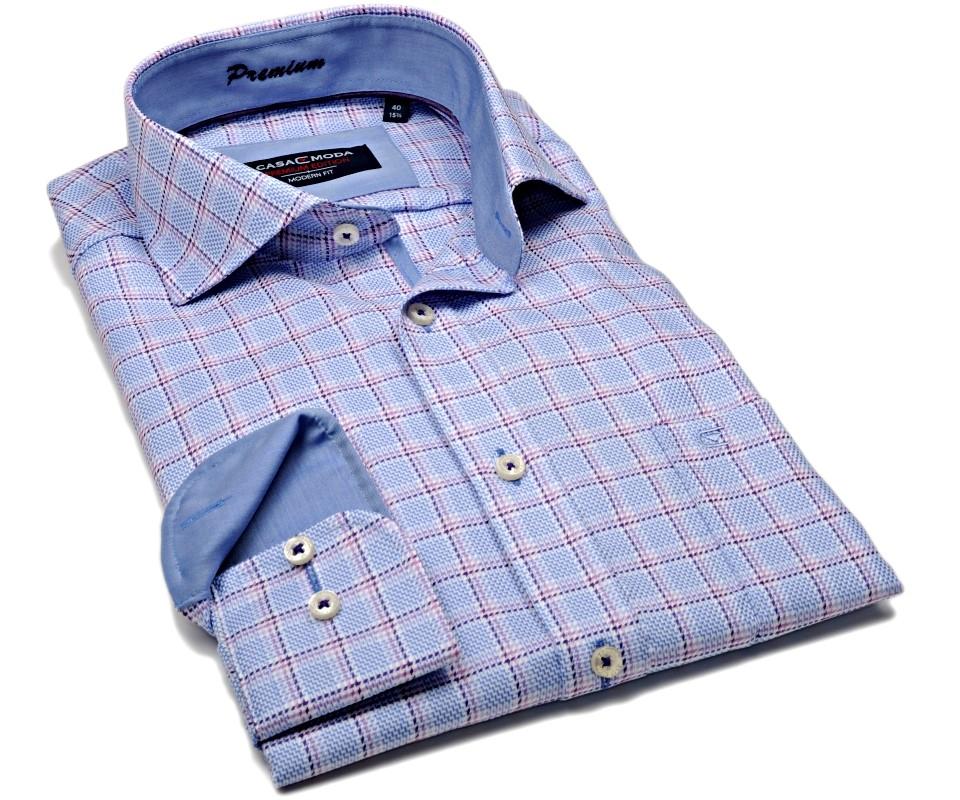 Casa Moda Modern Fit Premium – luxusní světle modrá košile s vetkanou  fialovo-růžovou kostkou a7fe173c58