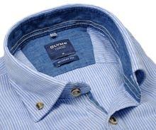 Olymp Casual Modern Fit  – lněná košile se světle modrým proužkem - krátký rukáv