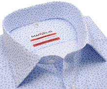 Marvelis Modern Fit - biela košeľa so svetlomodrými ornamentmi - predĺžený rukáv