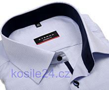 Eterna Modern Fit – košile s modrým vetkaným vzorem a vnitřním límcem - krátký rukáv