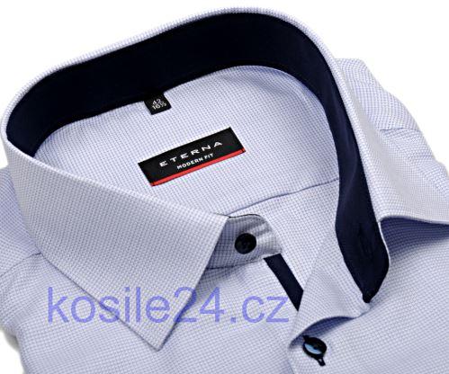 Eterna Modern Fit – košeľa s modrým votkaným vzorom a vnútorným golierom - predĺžený rukáv