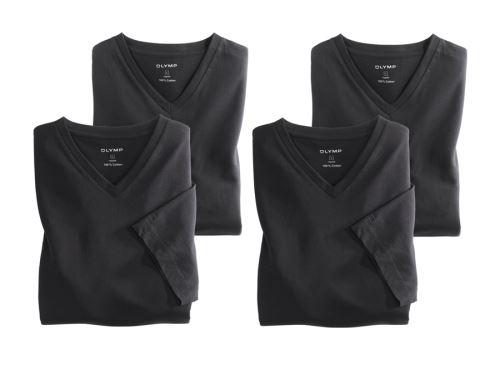 Černé bavlněné tričko Olymp s krátkým rukávem - V-výstřih - výhodné balení 4 ks
