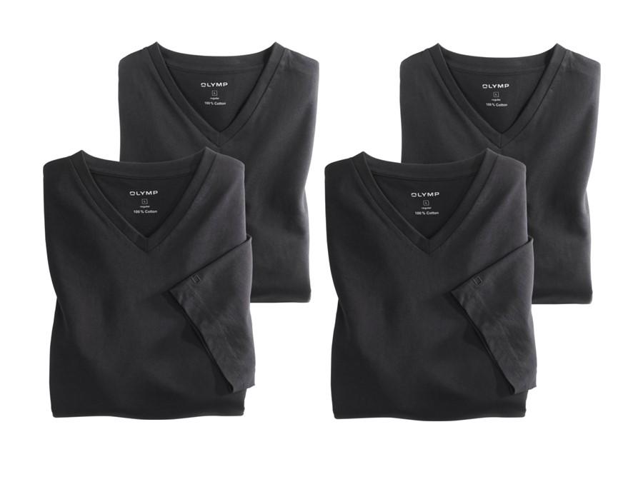 8c2355d4ba56 Čierne bavlnené tričko Olymp s krátkym rukávom - V-výstrih - výhodné  balenie 4 ks