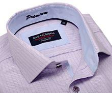 Casa Moda Modern Fit Premium – luxusní košile s růžovým proužkem a vnitřním límcem - extra prodloužený rukáv