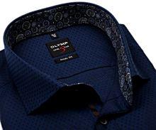 Olymp Level Five – tmavě modrá košile s vetkaným vzorem a barevným vnitřním límcem - prodloužený rukáv