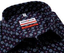 Marvelis Modern Fit - tmavomodrá košeľa s trojfarebnými ornamentmi - predĺžený rukáv