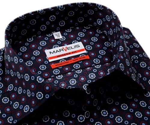 Marvelis Modern Fit – tmavomodrá košile s trojbarevnými ornamenty
