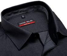 Marvelis Body Fit – antracitová košeľa s votkaným vzorom a vnútorným golierom a légou