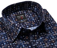 Olymp Level Five – designová tmavomodrá košile s hnědo-modro-bílým vzorem