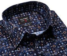 Olymp Level Five – dizajnová tmavomodrá košeľa s hnedo-modro-bielym vzorom