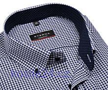 Eterna Modern Fit – košeľa s tmavomodrým károm s vnútorným golierom - krátky rukáv