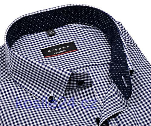 Eterna Modern Fit – košeľa s tmavomodrým károm s vnútorným golierom a manžetou - extra predĺžený rukáv