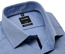 Olymp Modern Fit – modrá košile s jemným vzorem a vnitřní légou - prodloužený rukáv