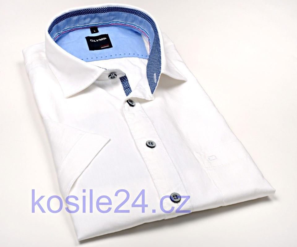 b133d31a0837 Olymp Casual Modern Fit – biela ľanová košeľa s vnútorným golierom a légou  - krátky rukáv