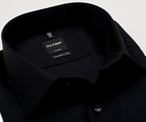 Olymp Luxor Modern Fit - černá košile bez kapsičky