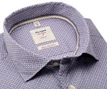Olymp Level Five Smart Business – košeľa s červeno-modrým vzorom