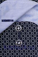 Casa Moda Comfort Fit Premium – tmavě modrá košile s bílým vzorem a vnitřním límcem - prodloužený rukáv