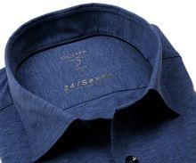 Olymp Level Five 24/Seven – modrá elastická košeľa so svetlomodrým rastrovaním