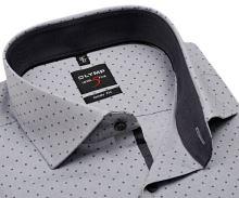 Olymp Level Five - sivá košeľa s antracitovým vnútorným golierom a manžetou - predĺžený rukáv