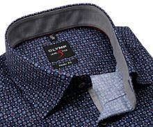 Olymp Level Five – tmavomodrá košeľa s červeno-bielym vzorom