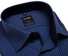 Olymp Modern Fit – modrá košeľa s votkaným vzorom a bielymi znamienkami
