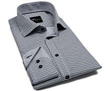 Venti Slim Fit – košile s šedo-černým vzorem a vnitřním límcem - extra prodloužený rukáv