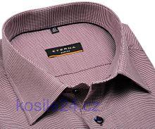 Eterna Slim Fit - vínovo červeno-biela košeľa s votkaným vzorom - extra predĺžený rukáv