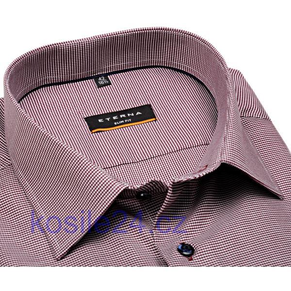 Luxusní vínově červeno-bílá košile Eterna Slim Fit - extra prodloužená b606629a94