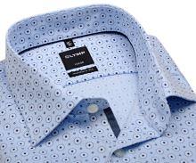 Olymp Modern Fit – dizajnová svetlomodrá košeľa s jemnou štruktúrou a krúžkami - predĺžený rukáv