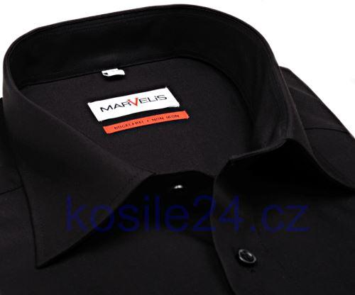 Marvelis Comfort Fit Uni – čierna košeľa - krátky rukáv