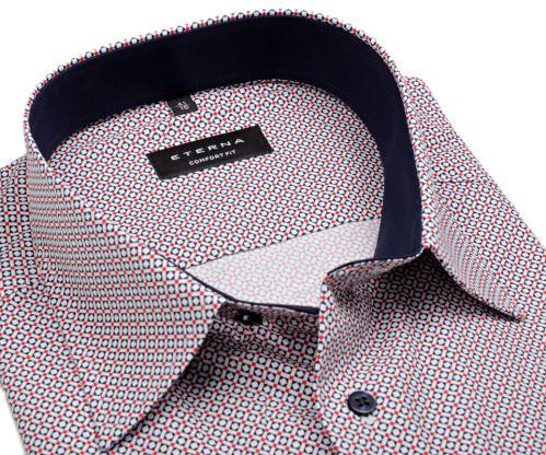 Eterna Comfort Fit – košeľa s červeno-modrým vzorom a vnútorným golierom - predĺžený rukáv