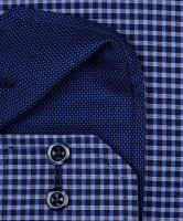 Eterna Modern Fit – modrá károvaná košile s vnitřním límcem a manžetou - extra prodloužený rukáv