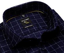 Olymp Super Slim Rybí kost – tmavě modrá košile s bílou vetkanou kostkou
