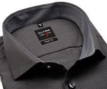 Olymp Level Five – antracitová košeľa s votkaným vzorom, vnútorným golierom a manžetou